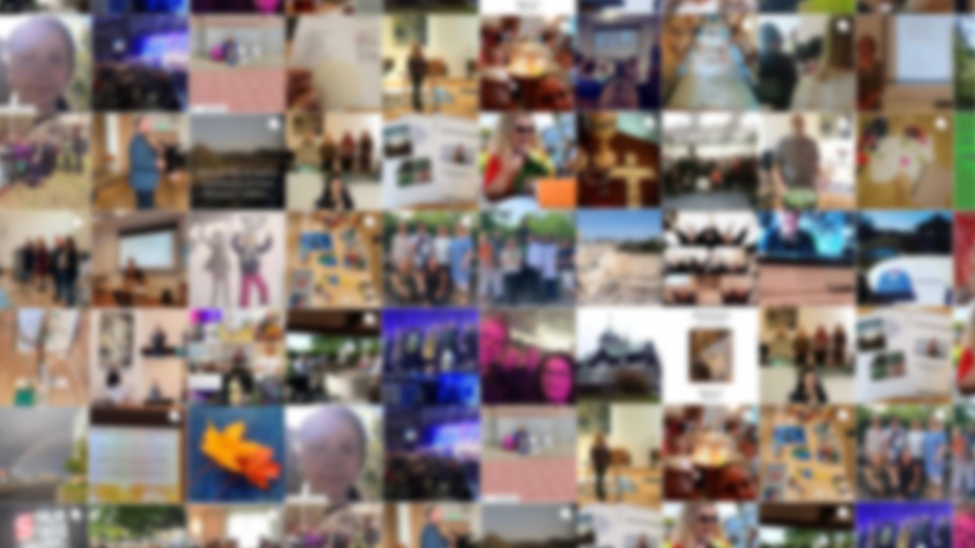 Suddigt collage med instagramfoton